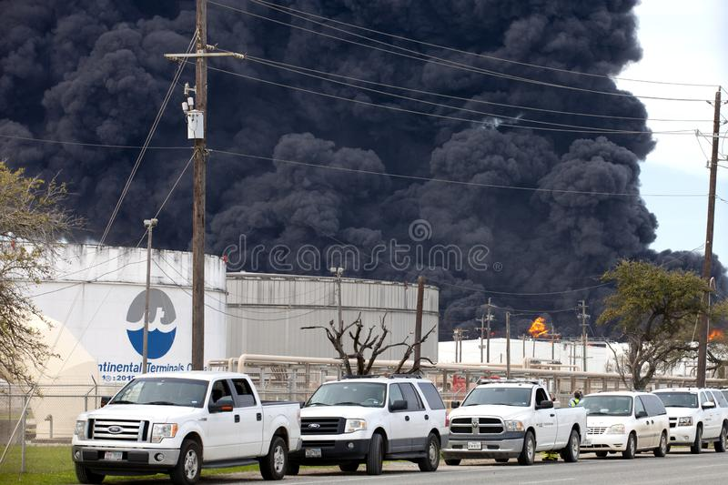 Refinery Fire in Houston Texas royalty free stock photography
