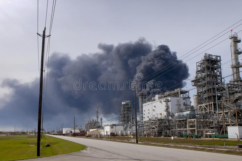 Refinery Fire in Houston Texas royalty free stock photo