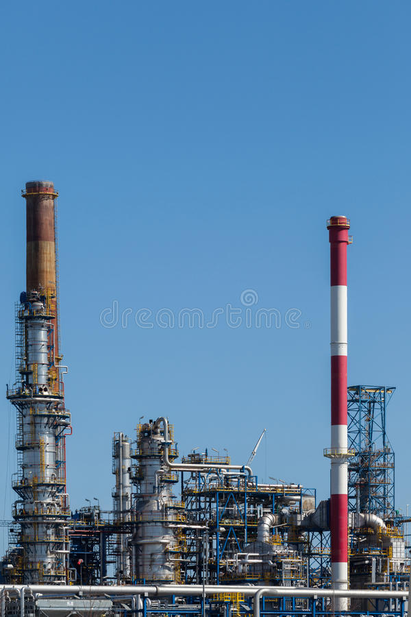 Refinery of Gdansk, Poland. Oil refinery of Gdansk - Vertical view stock image