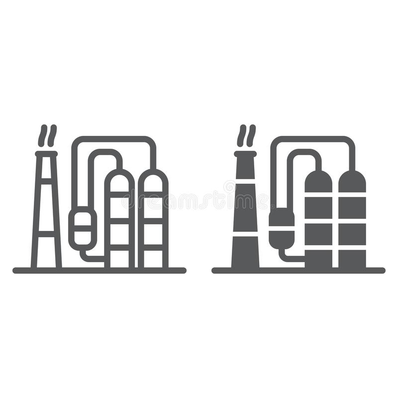 Refinery line and glyph icon, industy and factory, industrial plant sign, vector graphics, a linear pattern on a white vector illustration