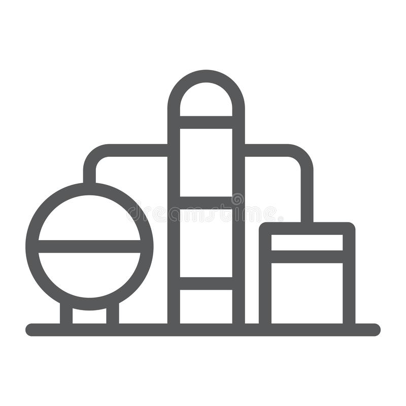 Refinery line icon, fuel and plant, oil factory sign, vector graphics, a linear pattern on a white background. vector illustration