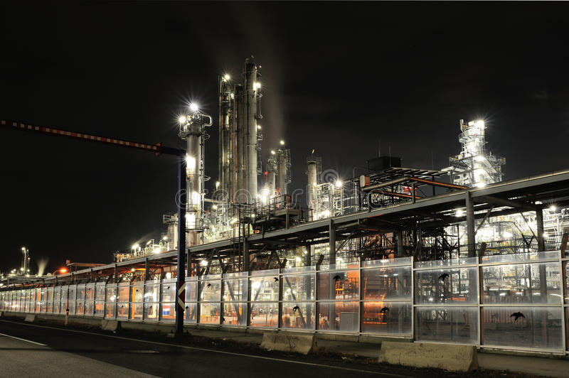 Oil Refinery by night. OMV oil refinery in Schwechat, Austria by night stock photo
