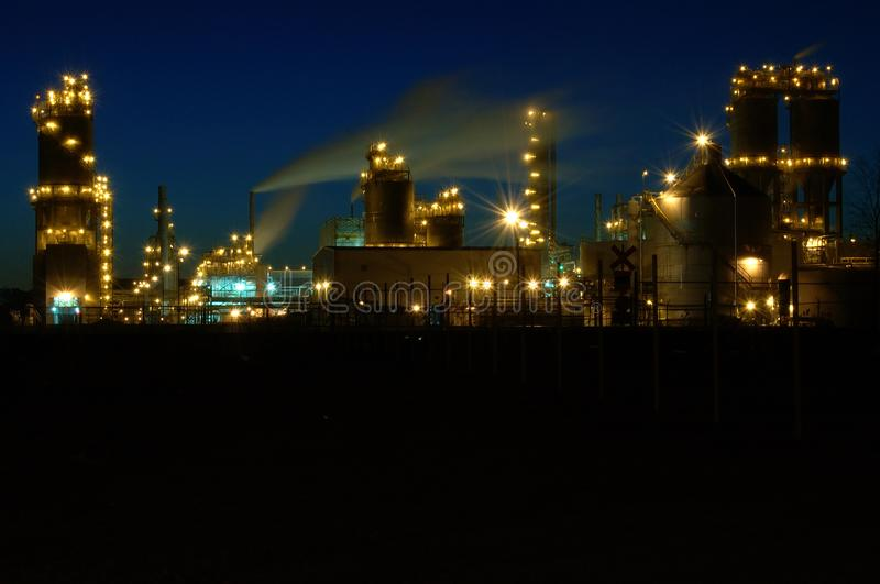 Refinery at night in Montreal A3 royalty free stock image