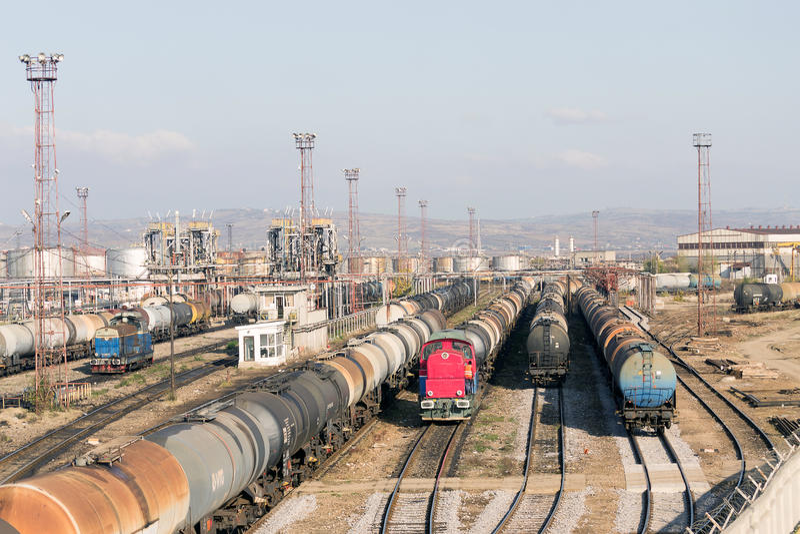Refinery oil trains rail yard royalty free stock image