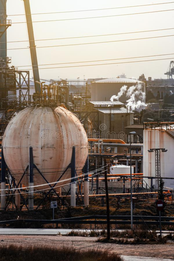 Petrochemical and industries. Appearance of refinery royalty free stock image