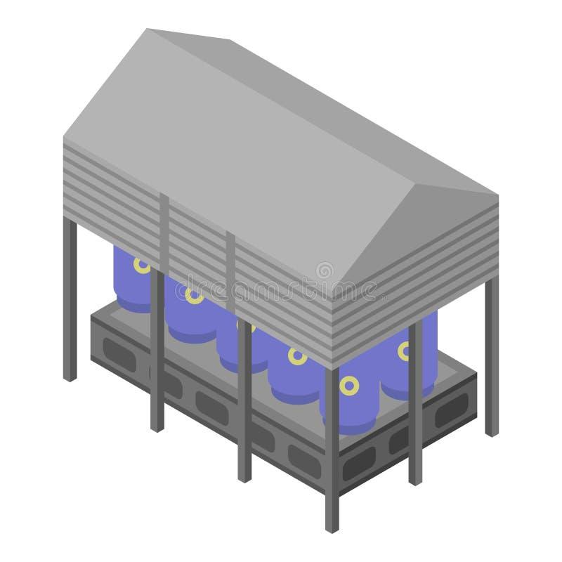Refinery Plant Warehouse Icon, Isometric Style Stock