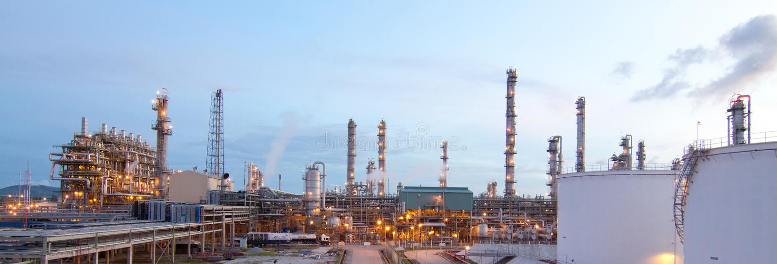 Refinery plants in the morning time. Refinery petrochemical plant in the morning time at the industrial estate stock photo