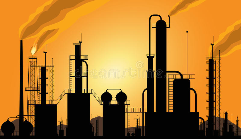 Download Oil Refinery Industrial Silhouette Stock Vector - Illustration of manufacture, emission: 14475290
