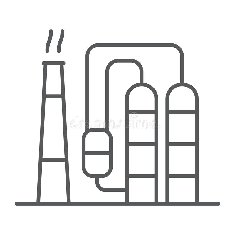 Refinery thin line icon, industy and factory, industrial plant sign, vector graphics, a linear pattern on a white royalty free illustration