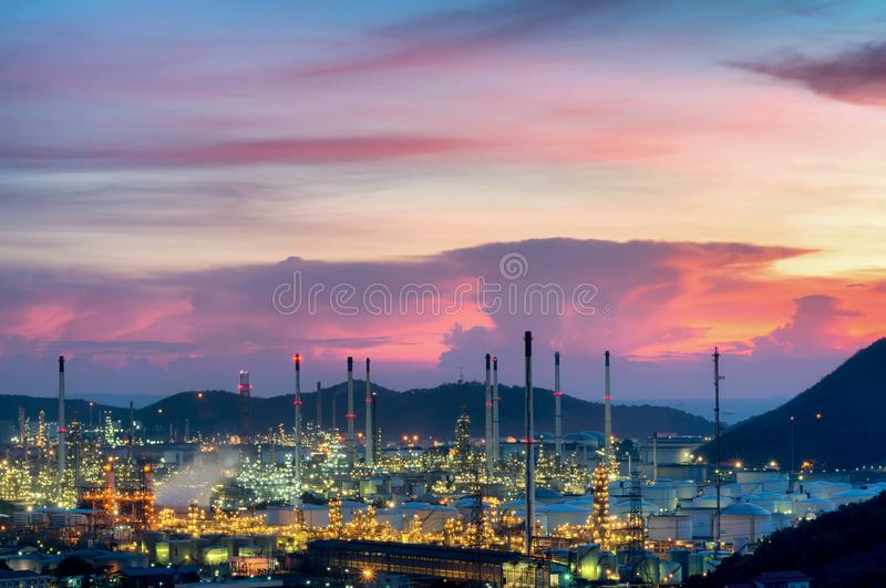 Refinery with tube and oil tank stock image