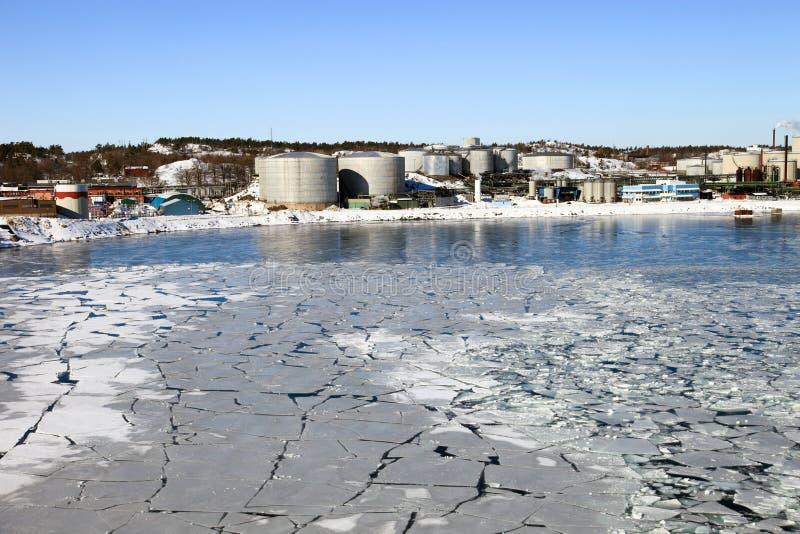 Refinery In Winter Scenery Stock Photo