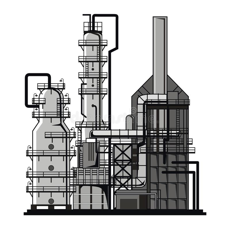Refining. Apparatus for refining. Vector format royalty free illustration