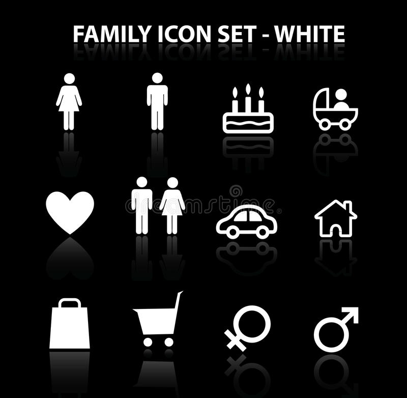 Download Reflect Family Icon Set (White) Royalty Free Stock Images - Image: 17082139