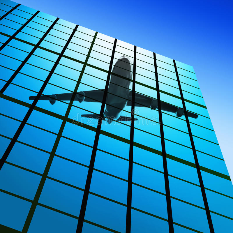 Reflect of plane in skyscrapers stock image