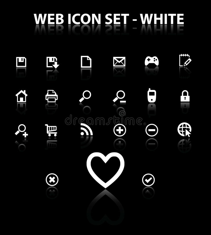 Reflect Web Icon Set Royalty Free Stock Photos