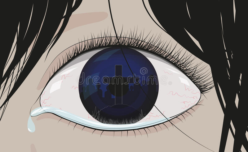 Reflected in the blue crying eye tombstone royalty free stock photo
