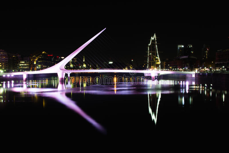 Reflected Buenos Aires. Night Shot in Buenos aires, showing puente de la mujer in puerto madero stock images