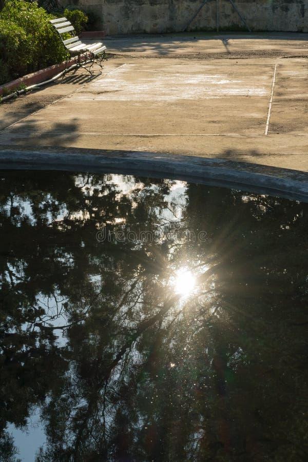 Sunlight Reflections on the water, Argoti Botanical Gardens, stock photography