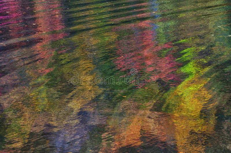 Reflecting Art. Fall reflections and movement in pond royalty free stock photo