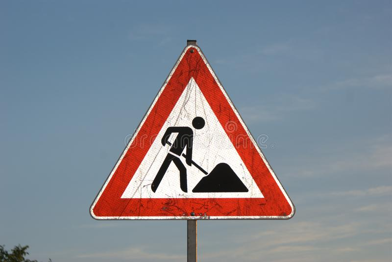 Reflecting `Bauarbeiten` or `Baustelle` construction site German traffic sign stock photos