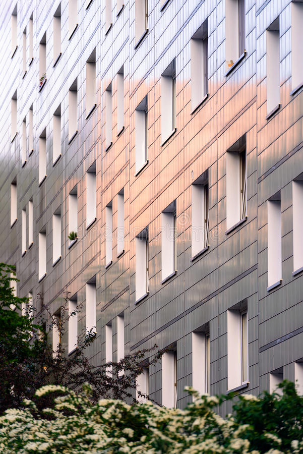 Reflecting facade of a block of flats royalty free stock photo