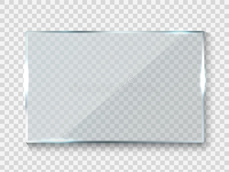 Reflecting glass banner. Gloss rectangle reflection 3d panel texture or clear window on transparent background vector royalty free illustration