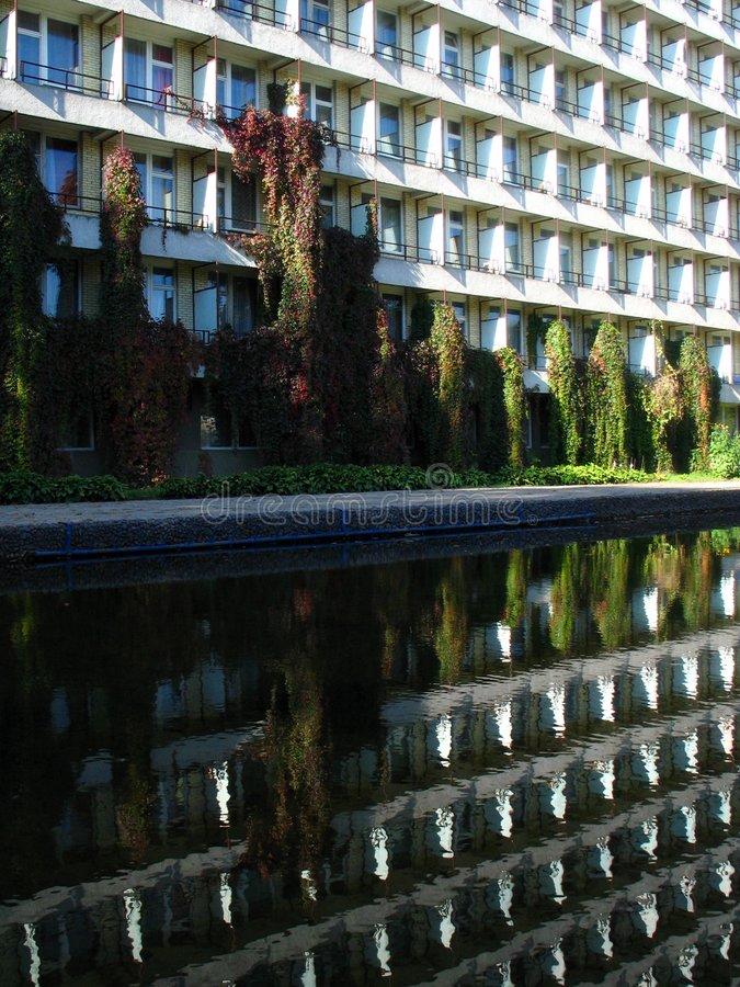 Download Reflecting hotel building stock image. Image of morning - 1414711