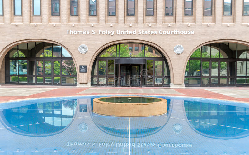 Reflecting pond at the United States Courthouse in Spokane, Washington. The entrance and reflecting pond at the Thomas S. Foley United States Federal Courthouse royalty free stock photo