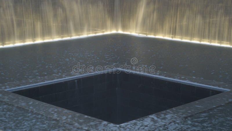 Reflecting pool at National September 11 Memorial stock images