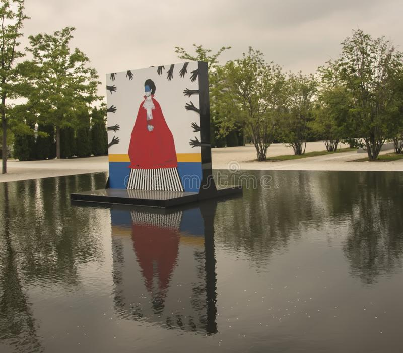Aga Khan Museum In Toronto. The reflecting pools in the Aga Khan Museum transformed into an exhibition venue. It presents large-scale portraits by ethiopian royalty free stock photography