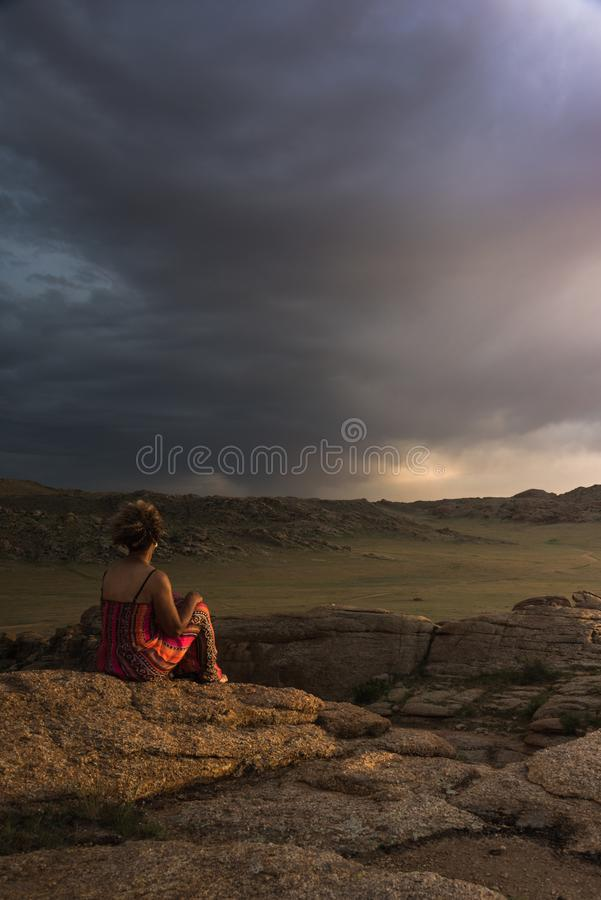 Reflecting on the storm clouds stock photo