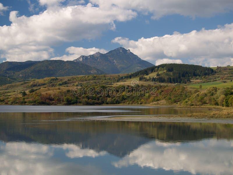 Reflection. Of Choc mountain in Liptovska Mara lake located in Slovakia royalty free stock photo