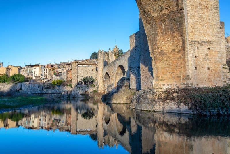 Reflection of Besalu, Spain stock photos