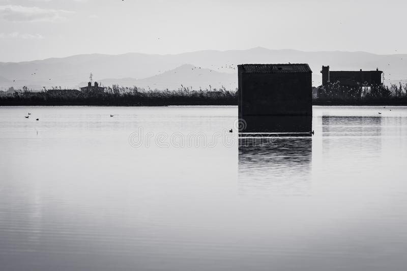 Reflection of the booths in the water of the rice fields. Lagoons in the natural park of Albufera, Valencia, Spain. Black and. White image. Perfect natural stock image