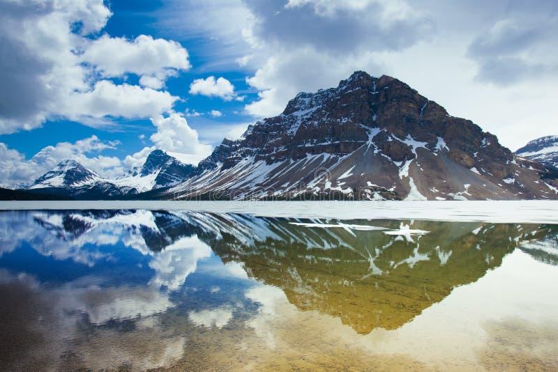 Reflection in Bow Lake. Banff National Park, Alberta, Canada stock photography