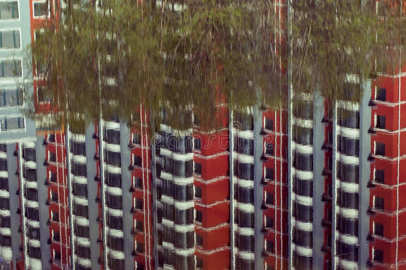 Reflection Of A Building By The Riverside. Stock Photo