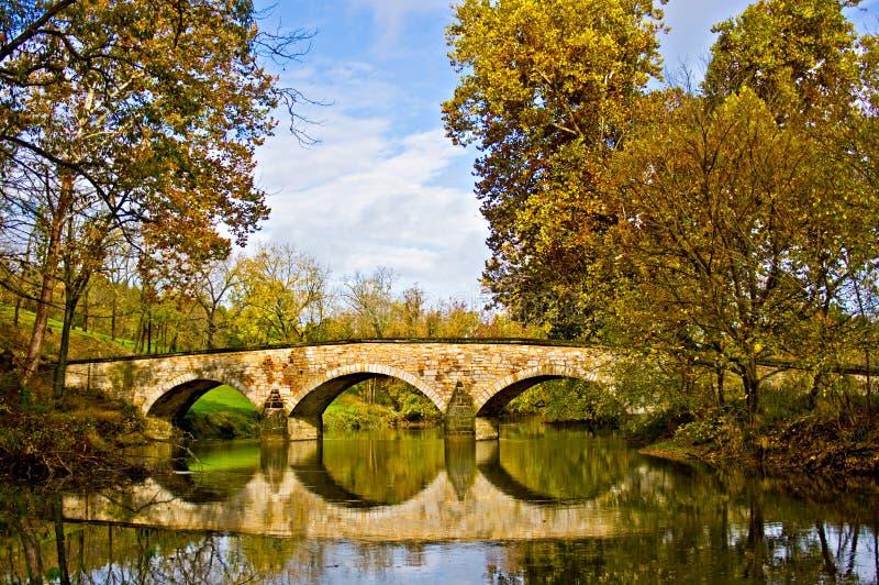 Reflection of Burnside's Bridge at Antietam. Burnside's Bridge at the Antietam Battleground royalty free stock image