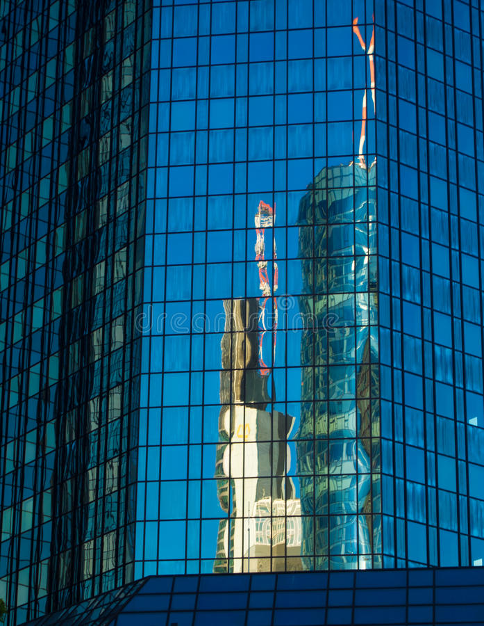 Reflection Of Business Buildings  In A Glass Facade, Frankfurt, Stock Photo