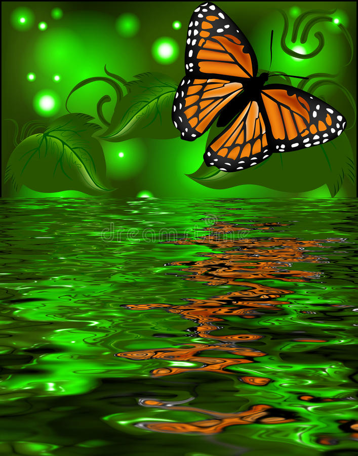 Reflection of a butterfly in the water on glowing back stock illustration