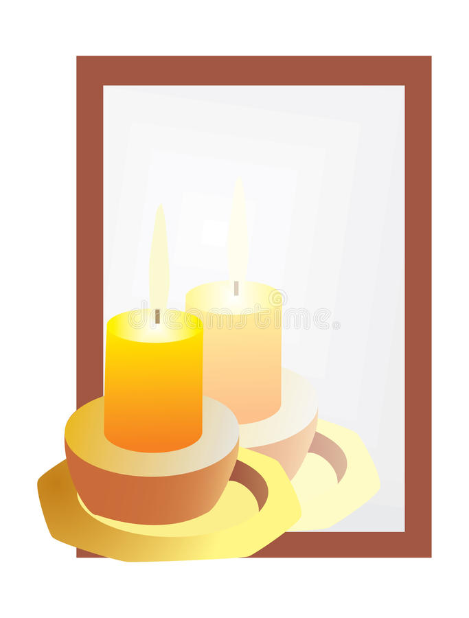Download Reflection Of The Candles In The Mirror Stock Vector - Image: 16784996