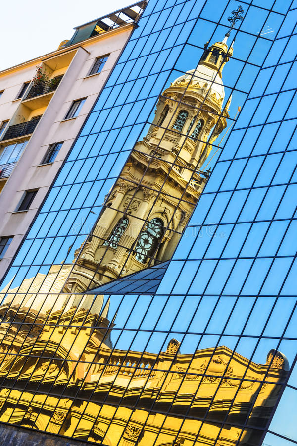 Reflection of the church tower - Plaza de Armas, Santiago de Chile, Chile royalty free stock photography