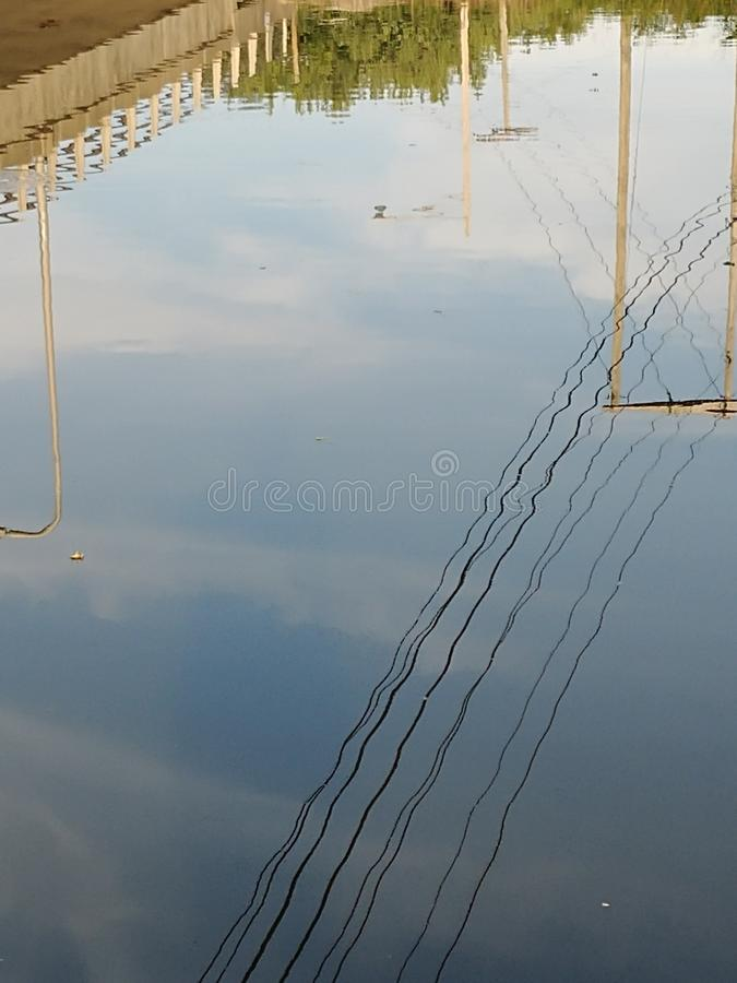 Reflection of city life. River, watet, water royalty free stock photography