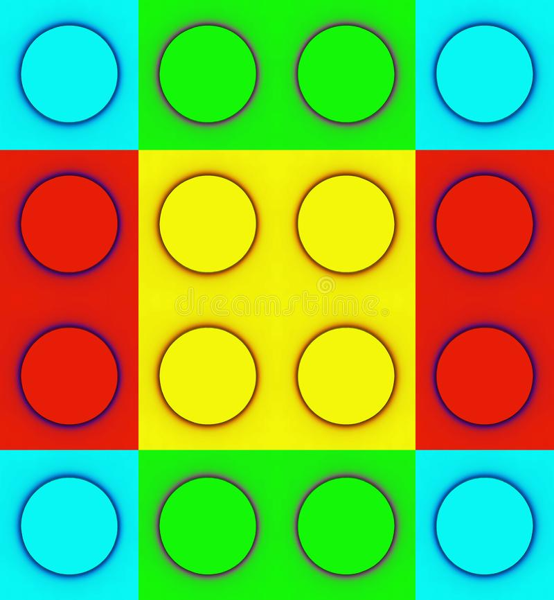 REFLECTION OF DUPLICATED COLOURFUL CIRCLES ON SQUARES. Image of blue circles in bright red, green, yellow and cyan squares repeated in a pattern royalty free stock photography