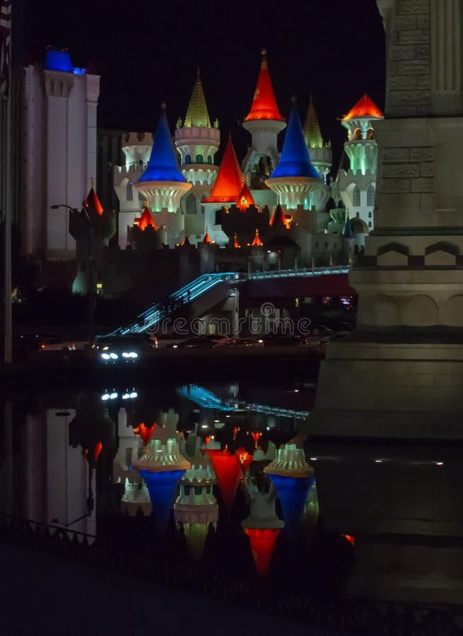Excalibur reflection Las Vegas royalty free stock images