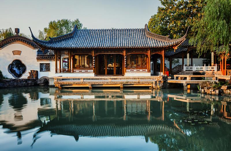 Reflection and housing. This is China`s Yangzhou famous tourist attractions in the water buildings and reflection stock photography