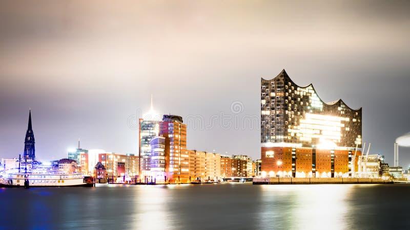 Panorama of Hamburg, Germany at night. Reflection of illuminated skyline of Hamburg, Germany panorama stock photo