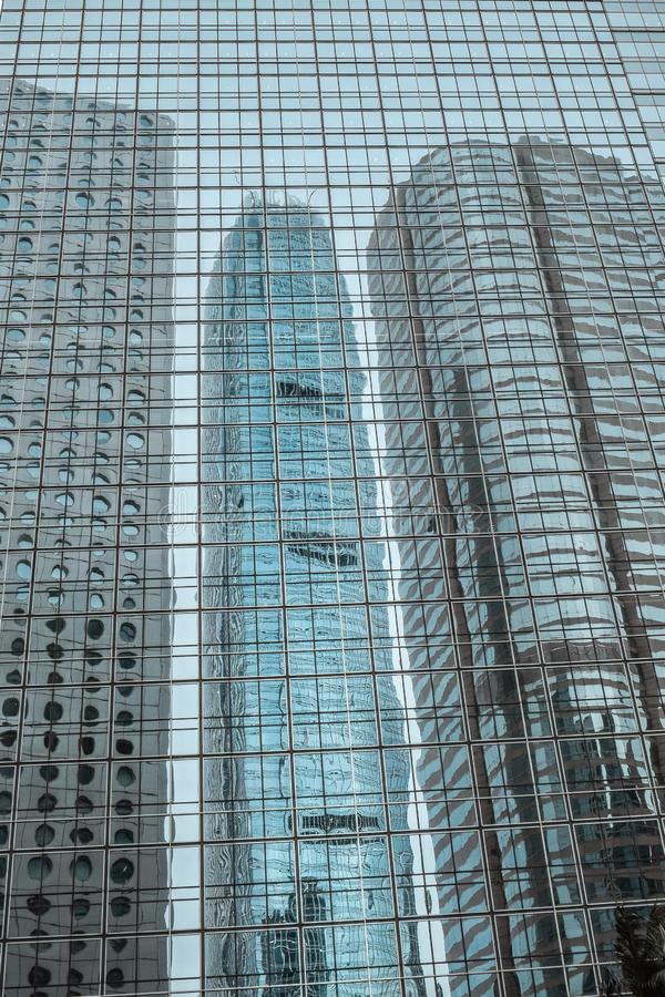 Reflection of the International Finance Centre building in Hong Kong stock photography