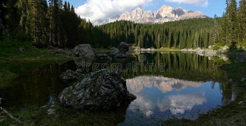 Reflection of the Italian Dolomites royalty free stock photos