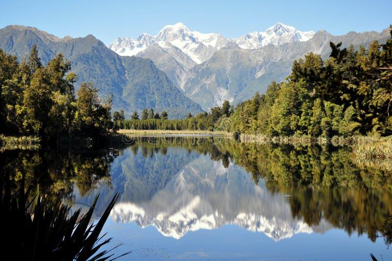 Reflection in lake matheson. royalty free stock photo