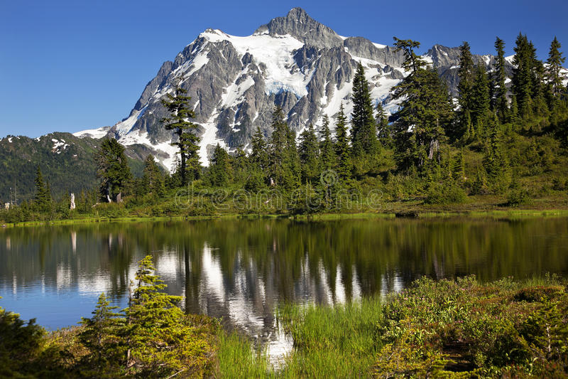 Reflection Lake Mount Shuksan Washington State. Reflection Lake Mount Shuksan Mount Baker Highway Snow Mountain Grass Trees Washington State Pacific Northwest stock photography
